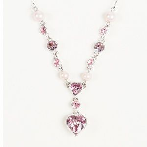 GIVENCHY CRYSTAL HEART &FAUX PEARL NECKLACE